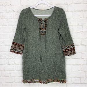 Entro Boho Embroidered PomPom Lace Up Mini Dress